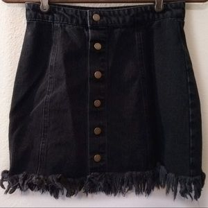 F21 Jean Skirt Button Detail Fray Raw Hem Short